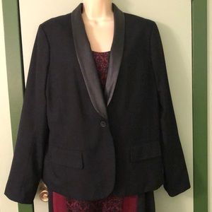 AEO Black Boyfriend Blazer Faux Leather Lapels XL